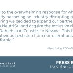 NEUTRISCI AND CRYOPHARM EXPAND EXISTING MANUFACTURING AND DISTRIBUTION AGREEMENT TO INCLUDE NEVADA